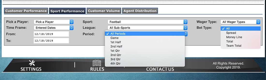 Player activity report - Filtering options
